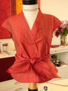 Anni Kuan cap sleeve silk shirt