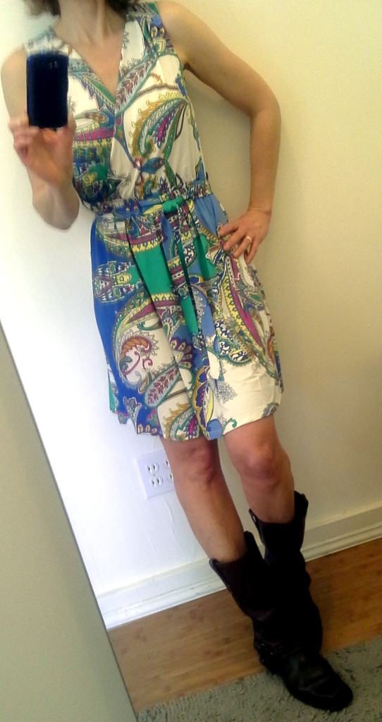 fake wrap dress, BIG boots!