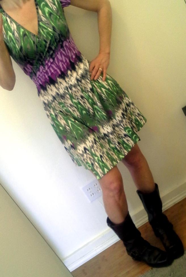wild print, short skirt, Frye boots!